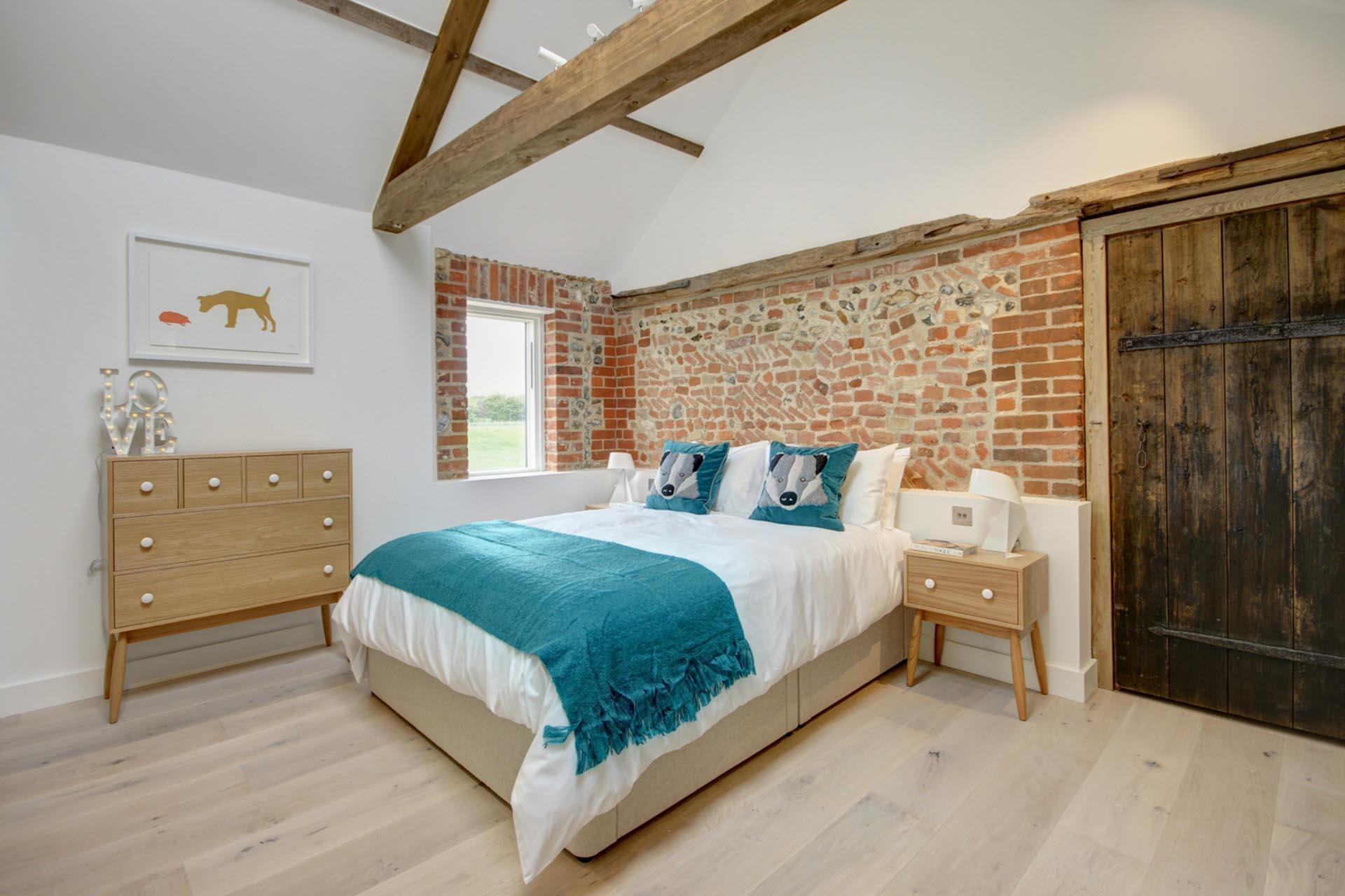 bedroom in a barn conversion